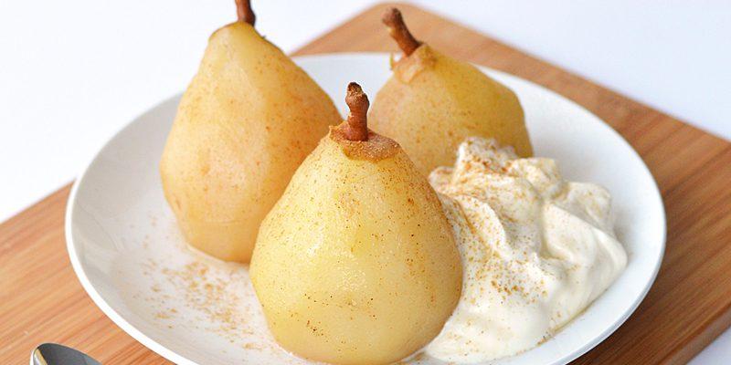 Chai Poached Pears with Creme Fraiche