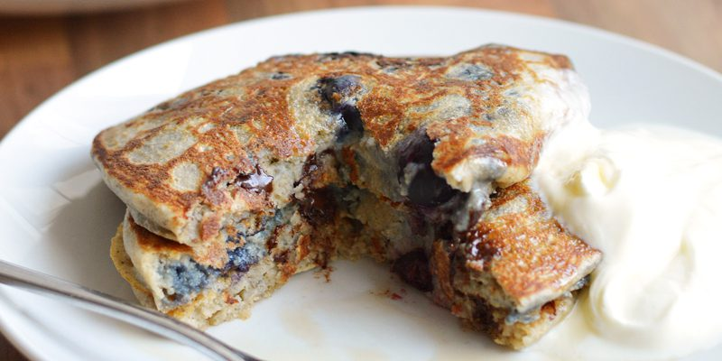 Blueberry + Banana Pancakes with Choc Chips
