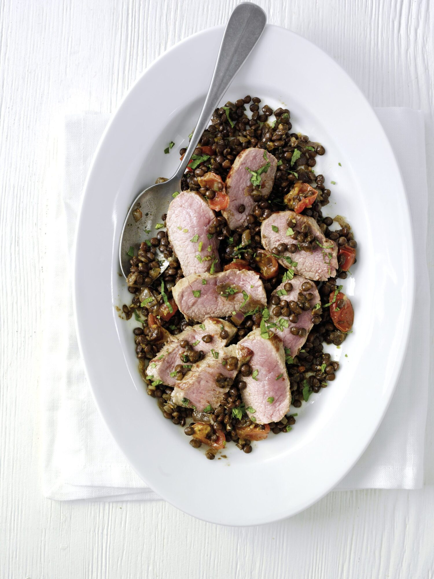 Pan Seared Coconut Cannon of Lamb with Puy Lentils (Simply Beef and Lamb)