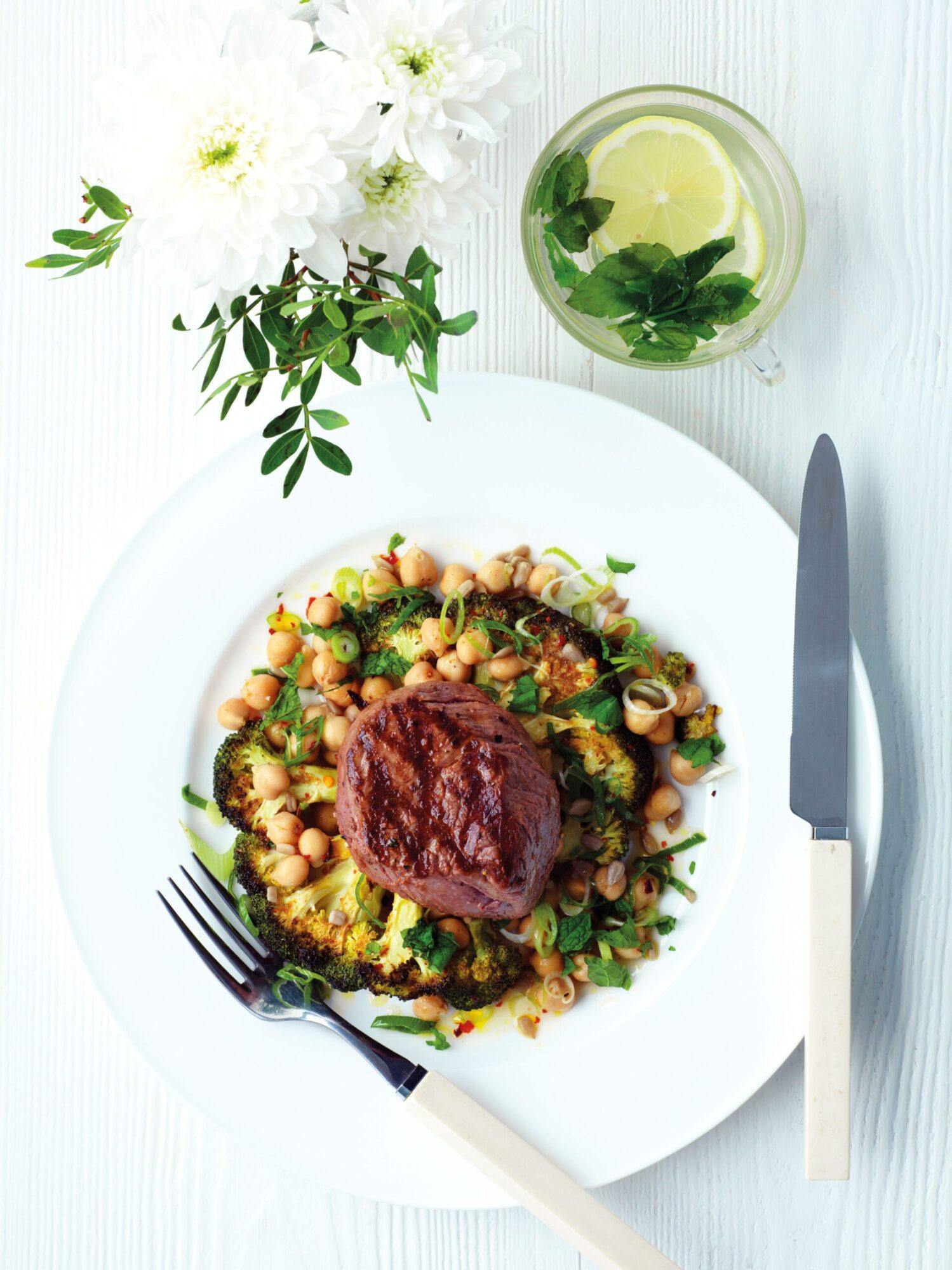 Griddled Beef with Crispy Broccoli and Chickpeas